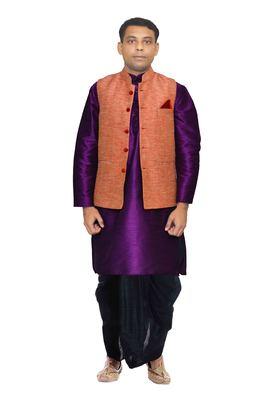 Purple Plain Art Silk Dhoti Kurta