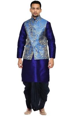 Blue Woven Art Silk Dhoti Kurta