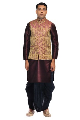 Brown Woven Art Silk Dhoti Kurta