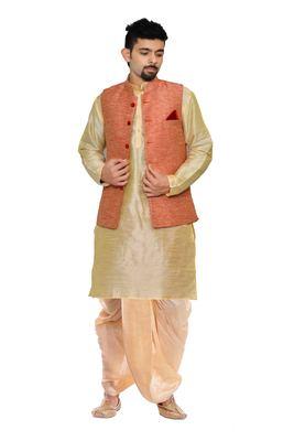 Gold woven art silk dhoti-kurta