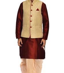 Maroon woven art silk dhoti-kurta