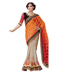 Buy Orange embroidered net saree with blouse bridal-saree online