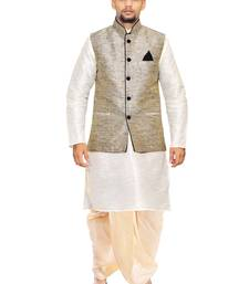 White woven art silk dhoti-kurta