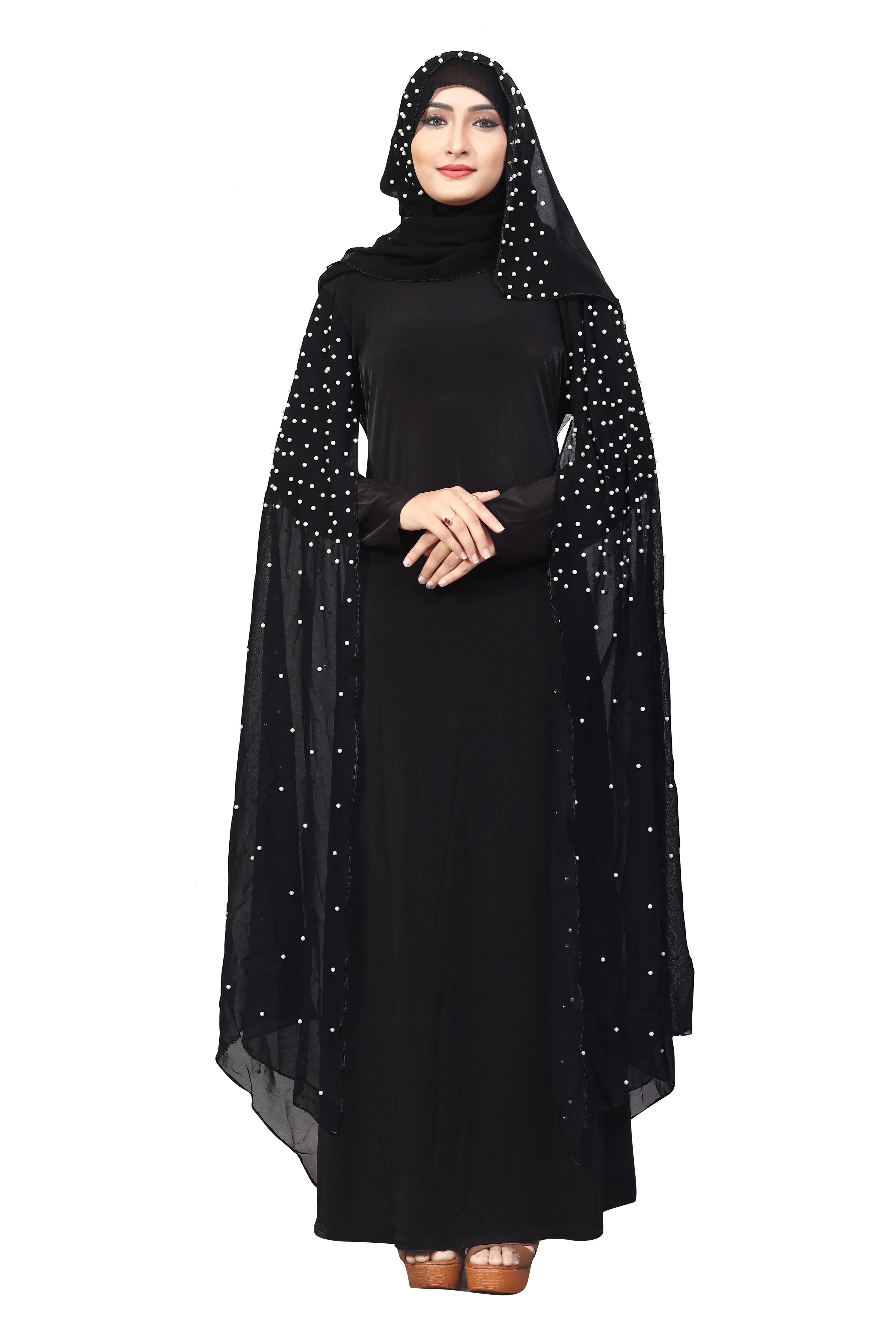 4f7b977b4ece Black Color Lycra And Chiffon Abaya Burkha With Pearl Work And Hijab Scarf  For Women - Justkartit - 2771393