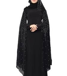 Black Color Lycra And Chiffon Abaya Burkha With Pearl Work And Hijab Scarf For Women