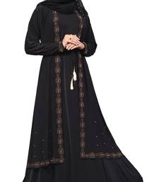 Black Color Lycra Abaya Burkha With Attached Jacket And String Waist Belt Style For Women