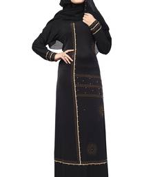 Black Color Lycra Stretchable Beads Work Abaya Burkha With Hijab Scarf For Women