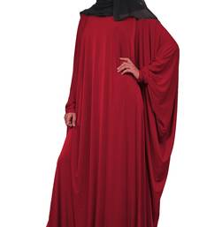 Maroon Color Plain Free Size Arabic Lycra Abaya With Chiffon Hijab Scarf For Women