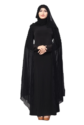 Black Color Lycra And Chiffon Abaya Burkha With Black Pearl Work And Hijab Scarf For Women