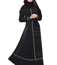 Black Color Lycra Stretchable Silver Beads Work Abaya Burkha With Hijab Scarf For Women