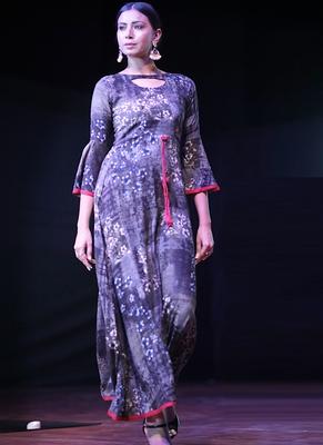 Black Rayon Designer Long Party Wear Kurti