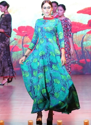 Green Rayon Designer Long Party Wear Kurti