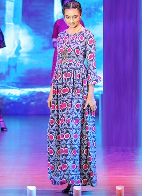 Blue Rayon Designer Long Party Wear Kurti