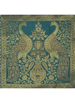 Rajasthani Hand Art Peacock Work Design Silk Table Runner & Table Cloth 60 x 16 Inch Green Color Mother's Day Gift