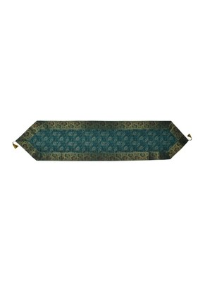 Lal Haveli Green Silk Fabric Dining Table Runner 72 x 16 inch