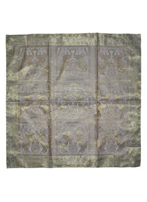 Peacock & Elephant Work Design Silk Tablecloth & Table Runner 38 x 38 Inch Gray Color