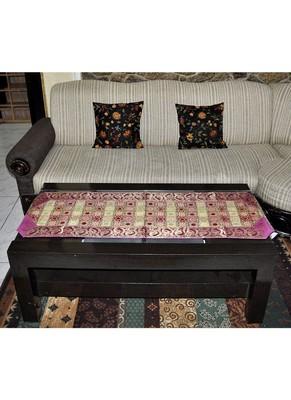 Banarasi Brocade Paisley Work Design Silk Table Runner 63 x 17 Inch Pink Color Mother's Day Gift