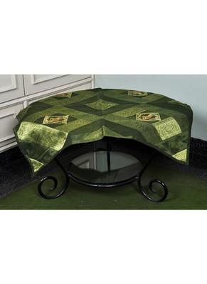 Banarasi Silk Elephant Work Table Cloth & Runner 35 X 35 Inches