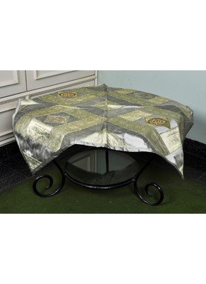 Handmade Floral Work Design Decorative Silk Center Table Cloth 35 X 35 Inches