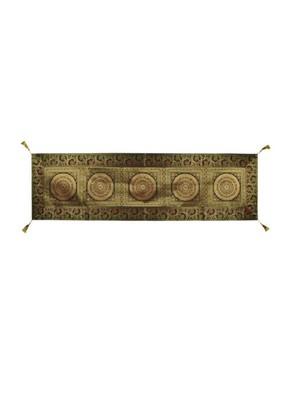 Lal Haveli Black Mandala Design Silk Table Runner 60 x 16 inch