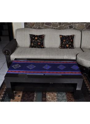 Lalhaveli Handmade Peacock Work Design Silk Center Table Runner 60 X 16 Inches
