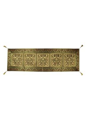 Lal Haveli Peacock & Elephant Design Silk Table Runner 60 x 16 inch