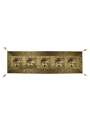 Lal Haveli Elephant Design Decorative Table Runner 60 x 16 inch Black Color