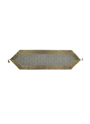 Lal Haveli Grey Silk Fabric Table Runner Decorative Items 60 x 16 inch
