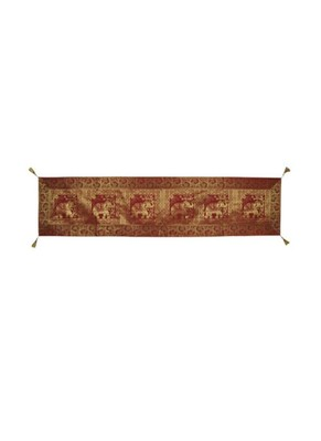 Lal Haveli Elephant Design Silk Fabric Dining Table Decoration Table Runner 72 x 16 inch