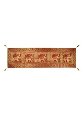 Lal Haveli Elephant Design Silk Fabric Kitchen Dining Table Runner 60 x 16 inch