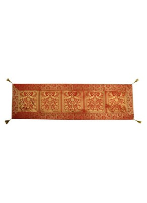 Lal Haveli Red Color Peacock & Elephant Design Silk Table Runner 60 x 16 inch