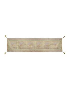 Lal Haveli White Elephant Design Silk Center Table Runner 72 x 16 inch