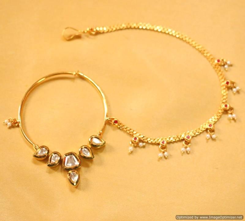 Paisley Pear Shaped Kundan Nose Ring Sanvi Jewels Pvt Ltd 260129