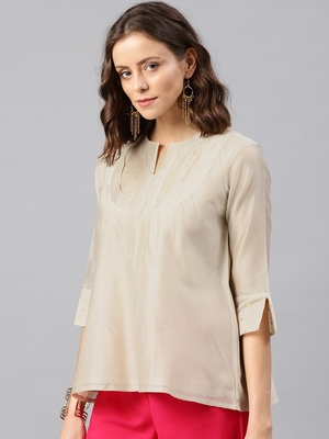 beige Women's zahreen - chanderi Tunic with buti yoke