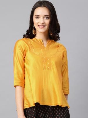 Gold Women's Ulfat - chanderi Tunic with buti yoke