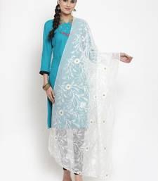 White Moonga Cotton Karachi Work Dupatta