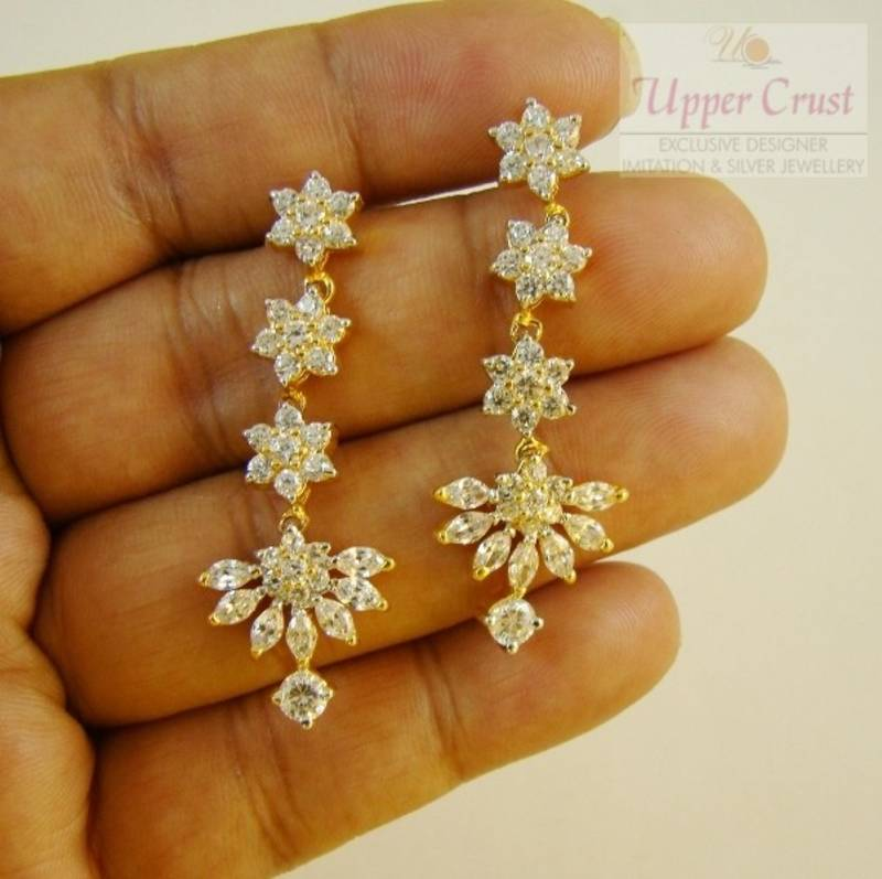 South Indian Traditional American Diamond Flower Earrings