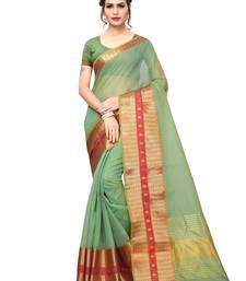 919c8acd704f6 Green Color Poly Silk Zari Patta And Border Women s Casual Saree