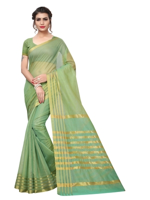 Green Color Poly Silk Zari Patta Print Women's Casual Saree