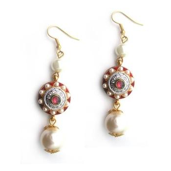 Pearl embedded, Enamel work earrings