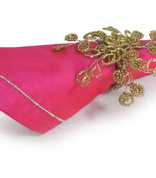 Pink Napkin with Satin Stitch Embroidery Gold Zari Thread over Poly Dupion Fabric- Set of 2 (40 X 40 Cm)