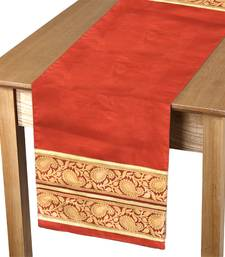 Red/Gold Runner with Patch Banaras Jacquard Polyester Fabric over Poly Dupion Fabric & Poly Texo Fabric Back