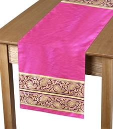 Pink/Gold Runner with Patch Banaras Jacquard Polyester Fabric over Poly Dupion Fabric & Poly Texo Fabric Back