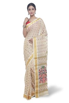 Beige Hand Woven Tussar Silk Saree