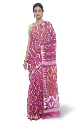 Purple Hand Woven Cotton Saree