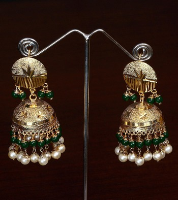 Green Beaded Gold Plated Traditional Dangler Bollywood Style Jhumka