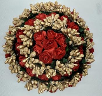 Red Rose flower hair juda