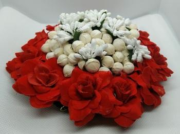 Red & white flower hair juda