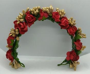 Red & gold flower hair veni
