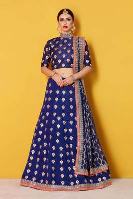 Blue embroidery dupion silk designer ethnic lehengas with matching blouse